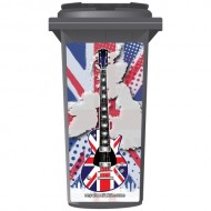 Union Jack Style Guitar Wheelie Bin Sticker Panel