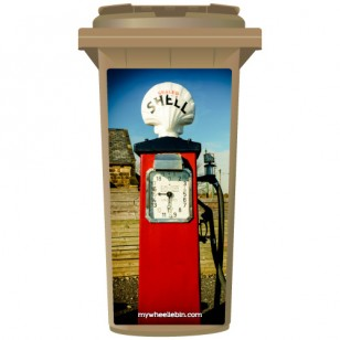 Vintage Red Shell Petrol Pump Wheelie Bin Sticker Panel