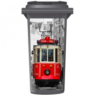 Vintage Red Tram In Old City Wheelie Bin Sticker Panel