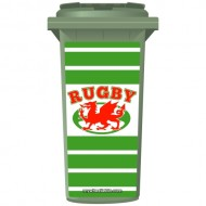 Wales Rugby Dragon On A Ball Shield Wheelie Bin Sticker Panel