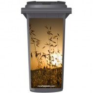 Wheat Field At Sunset Wheelie Bin Sticker Panel