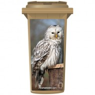White Owl On Post Wheelie Bin Sticker Panel