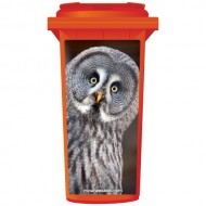 White Owl Wheelie Bin Sticker Panel