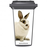 White Rabbit With Brown Eyes Wheelie Bin Sticker Panel