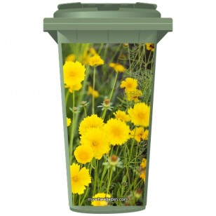 Wild Yellow Flowers Wheelie Bin Sticker Panel