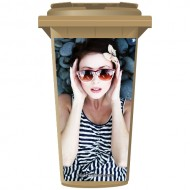 Woman In Sunglasses On The Rocks Wheelie Bin Sticker Panel
