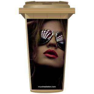 Woman Wearing Sunglasses Wheelie Bin Sticker Panel