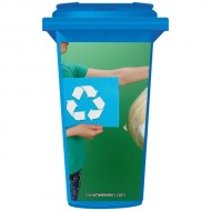 Woman Recycling Rubbish Wheelie Bin Sticker Panel