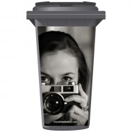 Woman Taking A Photo Wheelie Bin Sticker Panel