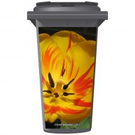 Yellow & Red Tulip Wheelie Bin Sticker Panel