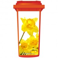 Yellow Daffodils Flower Wheelie Bin Sticker Panel