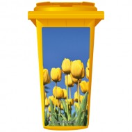 Yellow Flowers About To Bloom Wheelie Bin Sticker Panel
