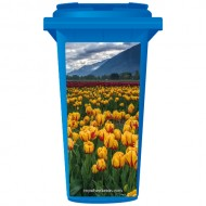 Yellow Tulips On A Cloudy Day Wheelie Bin Sticker Panel