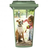 Young Girl And A Dog Wheelie Bin Sticker Panel