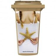 Young Girl With A Star Fish Wheelie Bin Sticker Panel