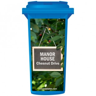 Your House Number Or Name & Street Name On A Chalkboard Hanging From A Tree Wheelie Bin Sticker Panel