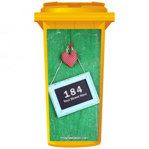 Your House Number Or Name & Street Name On A Chalkboard From A Green Fence Wheelie Bin Sticker Panel