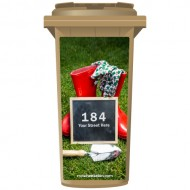 Your House Number Or Name & Street Name On A Chalkboard On The GrassWheelie Bin Sticker Panel