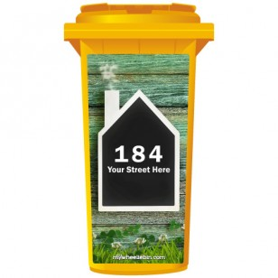 Your House Number Or Name & Street Name On A House Shaped Chalkboard Wheelie Bin Sticker Panel