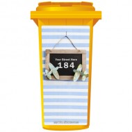 Your House Number Or Name & Street Name On A Rustic Chalkboard Wheelie Bin Sticker Panel