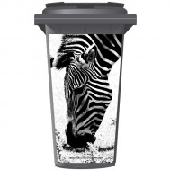 Zebra In Black & White Wheelie Bin Sticker Panel