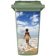 Woman Walking Into The Sea Wheelie Bin Sticker Panel